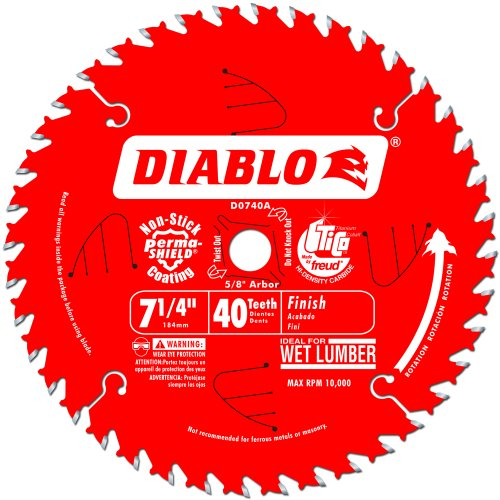 Freud D0740A Diablo 7-1/4 40 Tooth ATB Finishing Saw Blade with 5/8-Inch Arbor, Diamond Knockout, and PermaShield Coating