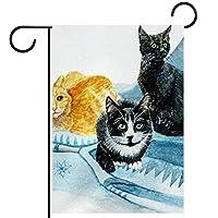 ホームガーデンフラッグ両面春夏庭の屋外装飾 28x40in,猫動物白