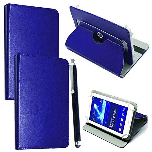 Custodia per Tab Cover con Meccanismo di Rotazione di 360° per Posizionamento Verticale ed Orizzontale del Tablet + Stylus (Universal 9.6'' - 10.1'', Plain Blue Book)
