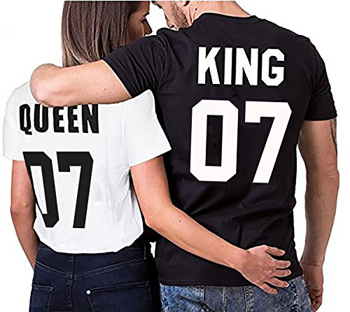 Camiseta par Partnerlook Juego King Queen para Parejas como obsequio S-4XL, Größe2:4XL;Partner Shirts:Herren T-Shirt Schwarz = King 07