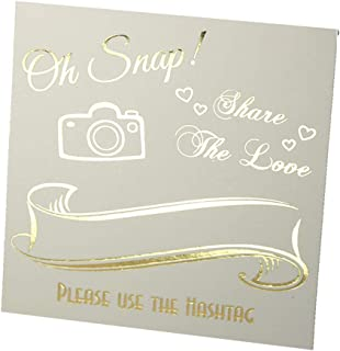 Hashtag Signs Gold Foil, 25 Pack, Off-White Cardstock, Wedding Table Top, Oh Snap Sign, Elegant Quality. # Hashtag Photo Sign for Instagram. Table Top Place Cards, Oh Snap! Share The Love!