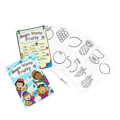 C.S. Kids Magic World Fruits Kaarten (Pack van 5 kaarten met 1 GRATIS Water Brush Pen)