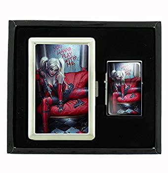 Customized Collectables Harley Quinn Wanna Play with Me Sexy Comic Book Cigarette Case and Flip Top Oil Lighter Set