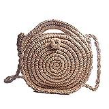 LUI SUI Bolso bandolera redondo de paja natural Bolso de hombro de tejido hecho a mano para mujer Bolsos y monedero de playa de verano