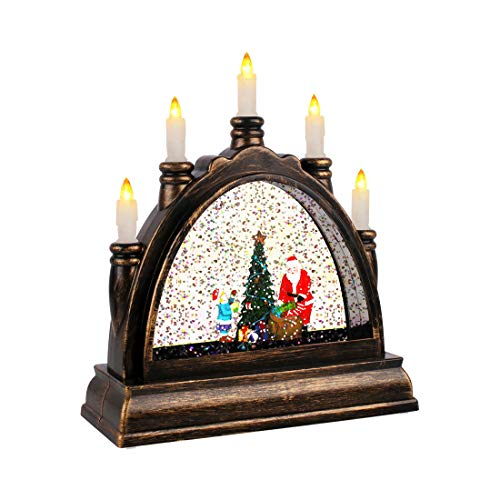 Suweor Upo Christmas Lighted Water Lantern, Swirling Glittering Snow Globe Lantern, Retro Arch Bridge Frame Candle Night Light, Xmas Decorative Lamp Festival Ornament and Gifts