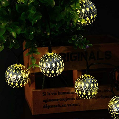 Silver Moroccan Orb String Light,KINGCOO Waterproof 20LED Goble Lantern Solar Dazzling Moroccan Fairy Light with 8 Mode Ambiance Lighting for Outdoor Garden Party Christmas Decorations (Warm White)