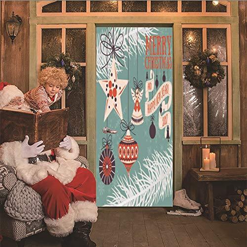 3D deurstickers hond die een kerstmuts draagt zelfklevend waterdicht PVC afneembare deurposter voor woonkamer, keuken, badkamer, slaapkamer, deur, art deco wandafbeelding 95x215cm B