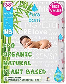 PureBorn Disposable Baby Diapers, Size 0, 0 to 4.5 Kg - 68 Count