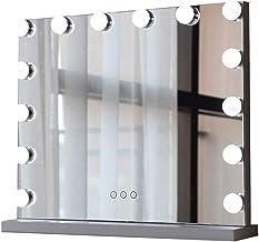 YUNTAO Simple Bright Mirror Metal Smart Square LED Bulb Desktop Vanity Mirror Three Color Fill Lamp (Size : 62 * 52cm) (Si...