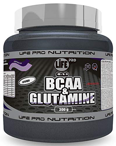 Life Pro BCAA + Glutamina Ajinomoto | Suplemento con BCAA's 8:1:1 y Glutamina con Fórmula Patentada Ajinomoto 300g, Sabor Naranja
