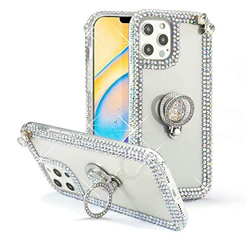 Max-ABC Compatible with iPhone 12 Pro Max Case 3D Glitter Sparkle Bling Case Luxury Shiny Crystal Rhinestone Diamond Bumper Protective Case Cover Clear Ring Holder for iPhone 12 Pro Max 6.7