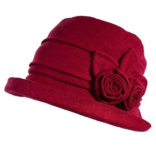 Comhats Wolle rot 1920s Retro Glockehut Fischerhut für Damen Klassische klappbare Bowler Hut Winter