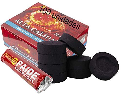 [Pack] Discos de carbón para quemador, incienso, incensario, ahumar, shisha, hookah, narguile, cachimba. Duraderos. Para uso doméstico. 3.3 centímetros de diámetro. (100)