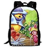 Beating Heart Mochila Escolar, día de Lluvia Personalizado Pooh y lechón Mochila Informal Mochila Escolar Mochila de Viaje Regalo