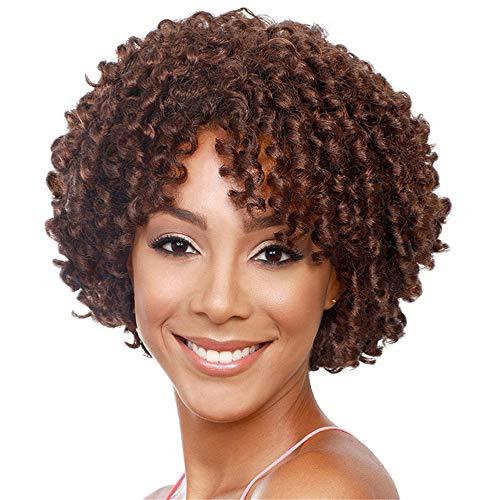 peluca,Peluca europea y americana de pelo corto y rizado femenino, peluca de seda de alta temperatura de fibra qumica africana esponjosa