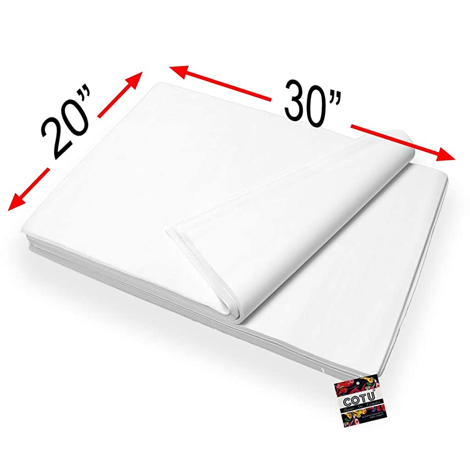 48 Sheets Bulk White Tissue Paper Large 20 Inch x 30 Inch by COTU