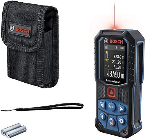 Bosch Professional medidor láser GLM 50-27 C (alcance: hasta 50m, robusto, IP65, transferencia de datos mediante Bluetooth, 2 pilas AA, correa de sujeción, estuche)