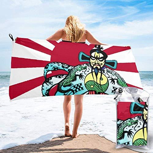 Hdadwy Jack-Burton-Japanese-Sun Toalla de playa de microfibra de secado rápido con bolsa de transporte para niños, adolescentes, adultos, viajes, gimnasio, camping, piscina, yoga, al aire libre y picn
