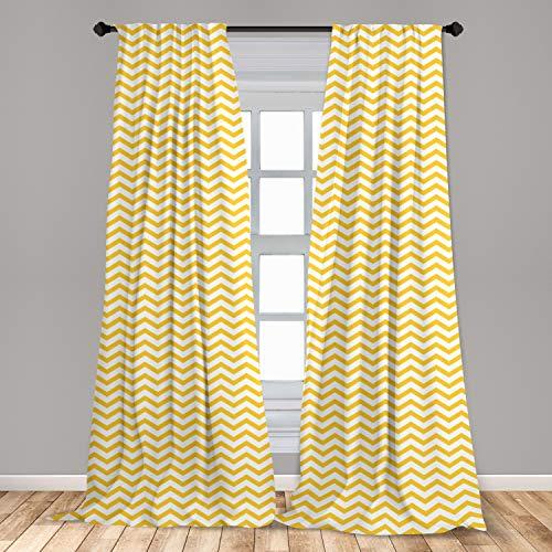 "Ambesonne Yellow Chevron 2 Panel Curtain Set, Modern Summer Season Pattern Zigzag Tile Design Wavy Horizontal Motif, Lightweight Window Treatment Living Room Bedroom Decor, 56"" x 84"", Yellow White"