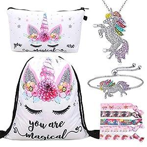 RLGPBON Pack de 5 Regalos de Unicornio para niñas, Mochila con cordón Bags/Maquillaje Bolsa/Collar Aleación Cadena/Lazos…