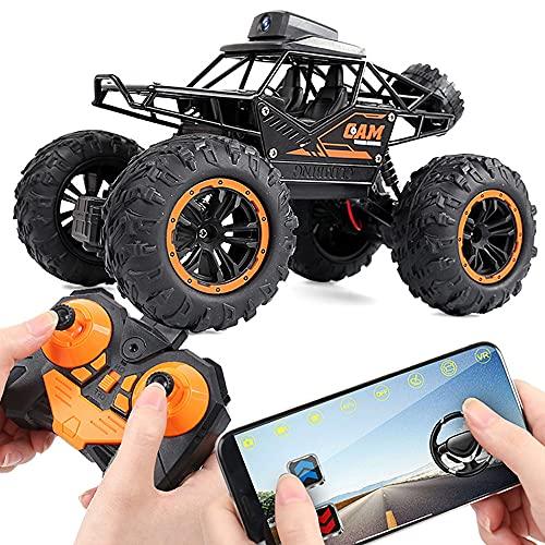 ADSVMEL Coche de juguete RC Visualización de lentes Coches de control remoto 4WD 2.4GHz Faros delanteros Coche de control remoto para niños Camiones todoterreno a prueba de agua Batería recargable Reg