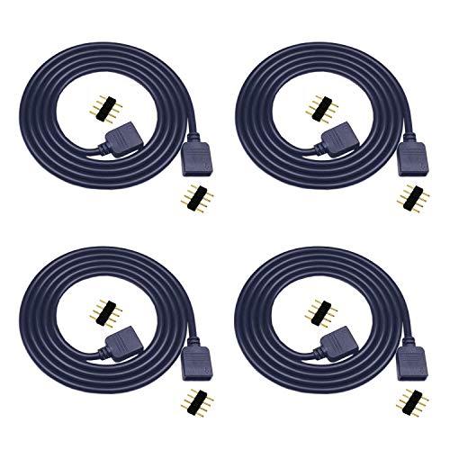 4X 1m LED Verlängerungskabel 4 polig RGB LED Streifen Verbinder 5050 RGB LED Verlängerung 3528 LED Strip Schnellverbinder LED Band Verbindungskabel LED Stripe Verteiler Kabel Anschlusskabel, Schwarz