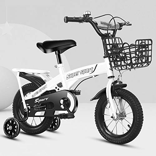 QHMWP Niño Bicicleta, Bicicleta para Niños Unisex Freestyle, Bicicleta Infantil con Ruedas de Entrenamiento y Estabilizadores, 12 Pulgadas, Asiento Ajustable, Bicicletas para Niños de Diseño Moda