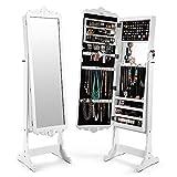 Cozzine armoire à bijoux avec miroir sur pied armoire a bijoux avec miroir Rangement cosmétiques, avec Miroir psyché, Serrure, 4 Étagères, Grande capacité, Blanc