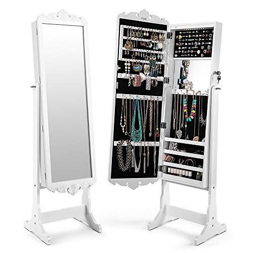 Schmuckschrank Weiß, Cozzine Spiegelschrank Standspiegel Schmuckregal mit extra breiter Spiegel LED Beleuchtung (41 x 36 x 167 cm, Weiß)