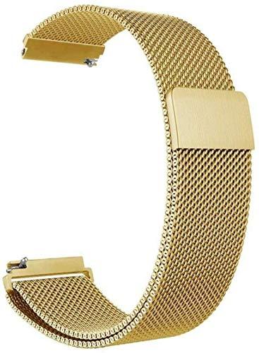 Banda de reloj general de acero inoxidable magnético de absorción de bucle de malla metálica correa de reloj de liberación rápida para Forerunner645 (oro, 20 mm)