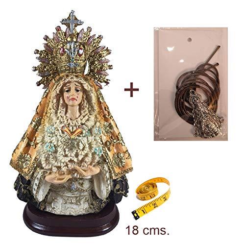 Figura Virgen Esperanza Macarena en Resina Pintada a Mano.18 cms. De Regalo un Colgante Virgen del Rocío