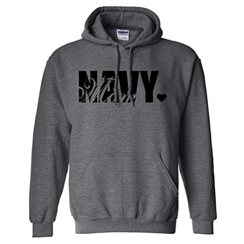 Navy Mom Hooded Sweatshirt in Dark Heather Gray - Small
