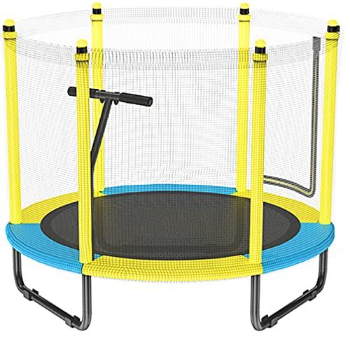 QTT Trampoline para niños con Red de gabinete, 59'Mini Trampoline para Interiores y Exteriores, Bonitos Regalos para niños, Edad 3+ Azul y Amarillo