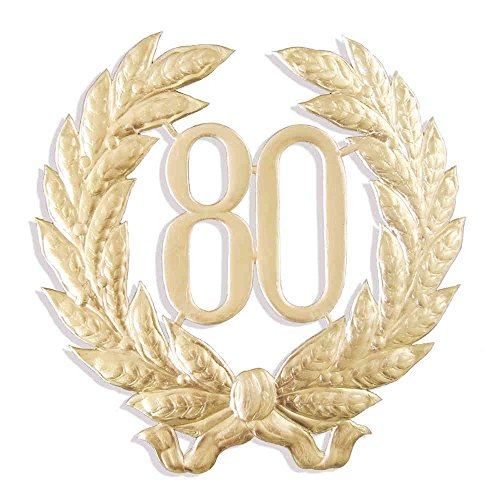 Jubiläumszahl 80, Ø 41 cm, gold, Jubiläumskranz