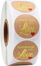 XYDZ Étiquette D'autocollant à la Main, 500pcs/1 Volume Rond Kraft Papier Autocollants Handmade with Love, pour Scrapbooki...