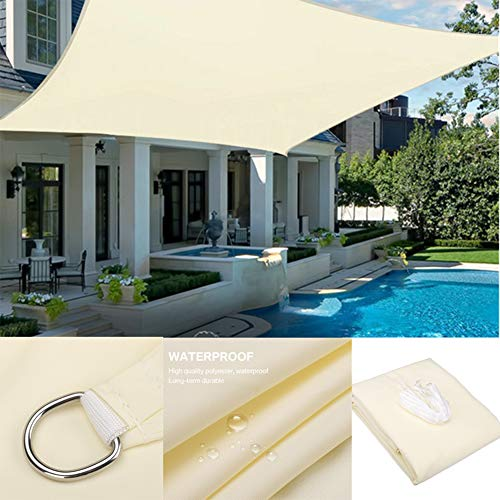 BUTTERFLYSILK Sunscreen Awning Rectangle Sun Shade Sail, with 4 x Fastening Ropes, Anti 95% UV and Waterproof Canopy, for Outdoor Patios Garden Backyard Pergola, Beige,2m x 4m