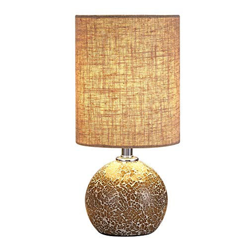 Bedside Table Lamp Desk Lamp - 12.5' H Mini Nightstand Lamp Mosaic Bedroom Night Lamp Small End & Side Table Lamp Bed Lighting with Drum Shade for Living Room Reading Kids Nursery