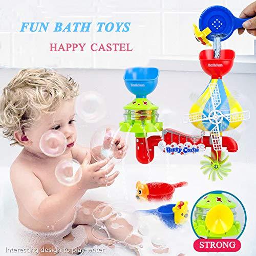 EPCHOO Baby Badespielzeug,Wasser Dusche Badewannenspielzeug Schloss Wasserspray Spielzeug mit 2 Nesting Cups Windm/ühle Wasserspielzeug f/ür Kinder ab 1 Jahr 2 Jahre