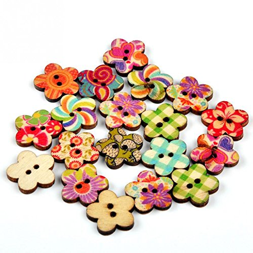 Ryask -Confezione da 100 bottoni assortiti, circolare, in legno dipinto Buttons-Cartamodello per accessori per scrapbooking, realizzare biglietti DIY Tools Home Decor