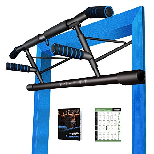 Kaufam 2020 EU-Patent Einzigartiges Kombi-Paket, 5 in1 Klimmzugstange inkl Dip Bar, klappbare Türreck, sichere Türrahmen Montage zu Hause ohne Schrauben, Für Crossfit inkl Schulungsleitfaden