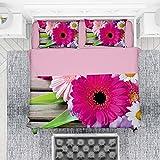 NuvolaNera Set completo lenzuola con stampa fotografica altissima qualità – 100% Cotone – 2 Piazze Matrimoniale - Gerbere
