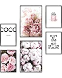 HEIMLICH wall art prints paris decor for bedroom UNFRAMED pink wall decor for bedroom women 6 pink poster as stylish fashion wall art for glam wall decor and paris wall art, 11x17 & 8.5x11 rose scoco