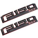 2pcs F150 XLT Fender Emblems Drivers Side Rear Tailgate Nameplates Stickers Rplacement for 2015-2016 Ford F-150 (Black/red)