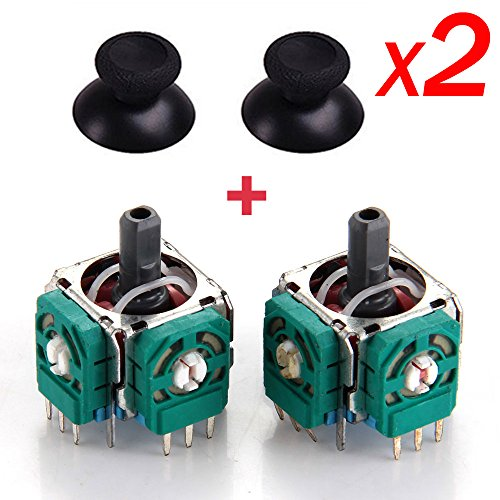 [2Pcs] Yoogeer Replacement 3D Sensor 3D Joystick and Thumb stick for Playstation4 PS4 Controller With 2x Thumb Stick