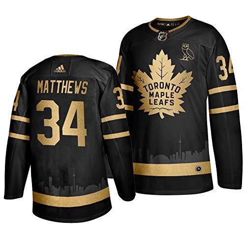 Herren T-Shirt Eishockey Jersey NHL Toronto Maple Leafs Matthews #34 Home Hockey Trikot Youth Training Trikot Hockey Uniform Leichtathletik Shirts Schwarz
