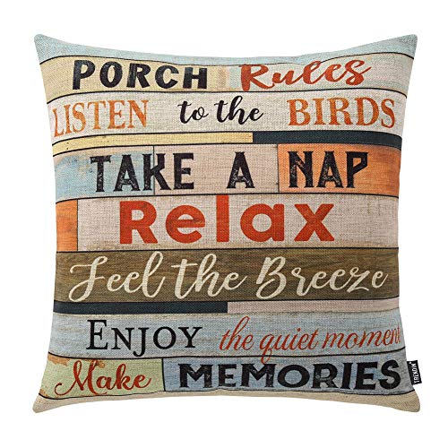 For Sale! TRENDIN Square Pillow Cover - 18 X 18 Inch Decorative Throw Pillowcase, Porch Rules PL240T...