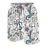 KOiomho Hombres Personalizado Trajes de Baño,Flores Vintage Estilo provenzal,Casual Ropa de Playa Pantalones Cortos