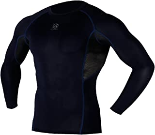 ARMEDES Men's Compression Quick Dry Baselayer Activewear Light Weight Mesh Long Sleeve T-Shirt