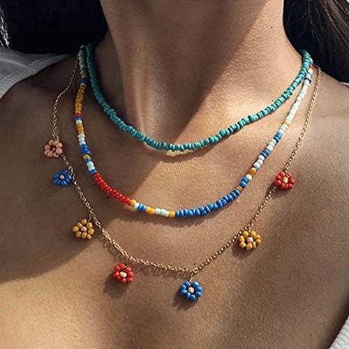 Masiter Boho Rainbow Beaded Necklace Layered Beads Choker Colorful Flower Chain Beach Travel product image