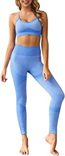 Jetjoy Women 2 Piece Outfits Leggings+Sports Bra Yoga Set Compression Skinny Tights Gym Fitness Yoga Pants Exercise Outfits